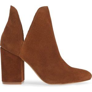 Chestnut Brown Suede V-Cut Notch Side Ankle Boots